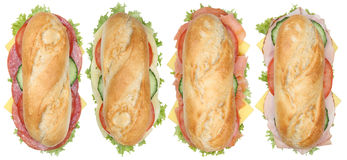 Collection of sub sandwiches baguettes with salami, ham and chee Stock Photo