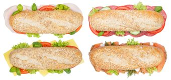 Collection of sub sandwiches whole grains ham salami cheese salm Royalty Free Stock Images