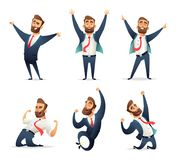 Collection of successful charming businessman character in different dynamic poses. Manager enjoys the victor. Collection of successful charming businessman Stock Illustration