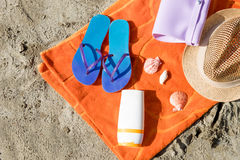 Collection of summer beach objects Royalty Free Stock Images