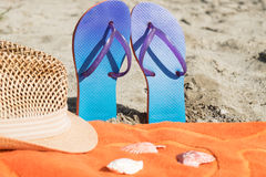 Collection of summer beach objects on the beach Royalty Free Stock Photography