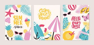 Collection of summer card or flyer templates with decorative summertime lettering and tropical exotic paradise beach. Attributes. Colorful creative seasonal royalty free illustration