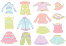 Collection of summer childrens clothing Royalty Free Stock Photography