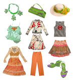 Collection summer clothes Royalty Free Stock Images