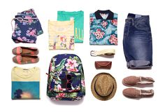 Collection of summer clothes stock photo
