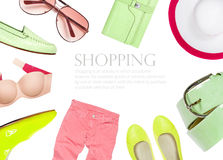 Collection of summer clothes isolated on white background Royalty Free Stock Photo