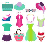 Collection of Summer Clothing fashion style - Illustration. Summer Outfit Collection of summer elements fashion Clothing and accessory for women Stock Photo