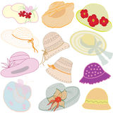 Collection of summer hats Stock Photos