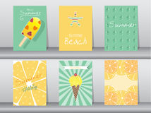 Collection of summer, holiday, vacation poster set. Stock Photos