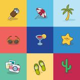 Collection of Summer Icons in Flat Design Stock Photos