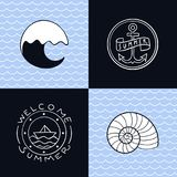 Collection of summer icons Royalty Free Stock Image