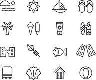 Collection of summer icons Stock Photos