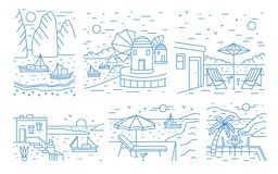 Collection of summer landscapes with sea or ocean, mountains, sailing yachts and seaside resort drawn with contour lines. On white background. Monochrome vector royalty free illustration