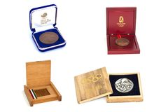 Collection of Summer Olympic Games Participation medals reverse and obverse in boxes. Tokyo 1964, Mexico 1968, Seoul 1988, Beijing. 2008. Kouvola Finland 12.03 Stock Images