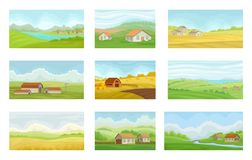 Collection of summer rural landscapes with village houses, meadow with green and yellow grass, agriculture and farming. Vector Illustration isolated on a white royalty free illustration