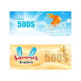 Collection of summer sale promotion for discount and free vouche Stock Photography