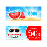 Collection of summer sale promotion for discount and free vouche Royalty Free Stock Photography