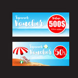 016 Collection of summer sale promotion voucher template. Collection of summer sale gift voucher template vector illustration eps10 Stock Photo