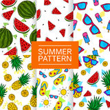 Collection of 6 Summer Seamless Pattern Vector. Art Royalty Free Stock Photography
