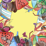 Collection of summer symbols. Summer background. Vector illustration, EPS 10 Stock Photo