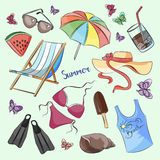 Collection of summer symbols Stock Image