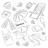 Collection of summer symbols Stock Images