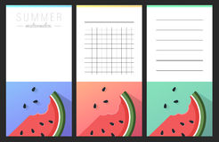 Collection of summer watermelon cards Stock Photos