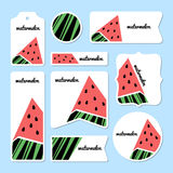 Collection of summer watermelon cards Stock Images