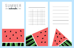Collection of summer watermelon cards Royalty Free Stock Photos