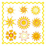 Collection of the sun in ethno style Stock Photos