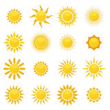 Collection of sun icons Royalty Free Stock Images