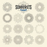 Collection of sunbursts or bursting rays. Illustration vector illustration