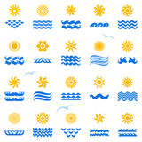 Collection suns. 20 picture sun for icon, Vector Stock Images