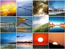 Collection of sunset scenery Stock Photos