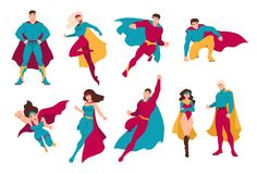 Collection of superheroes. Bundle of men and women with super powers. Set of male and female cartoon or comic characters wearing tight-fitting costumes and stock illustration