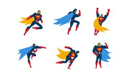 Collection of superheroes, superman character in different poses vector Illustration on a white background royalty free illustration