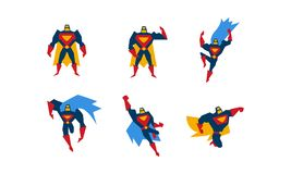Collection of superheroes, superman character men with super powers vector Illustration on a white background vector illustration