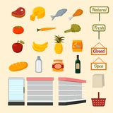 Collection of supermarket food items Royalty Free Stock Photos