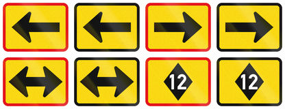 Collection of Supplementary Road Signs Used in Botswana Stock Image