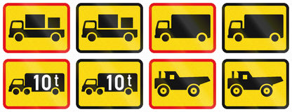 Collection of Supplementary Road Signs Used in Botswana Royalty Free Stock Images