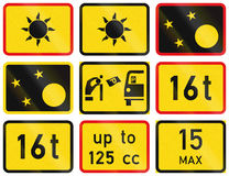 Collection of Supplementary Road Signs Used in Botswana.  Royalty Free Stock Photo