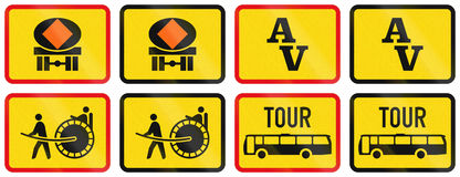 Collection of Supplementary Road Signs Used in Botswana Royalty Free Stock Photo