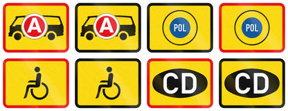 Collection of Supplementary Road Signs Used in Botswana Stock Images