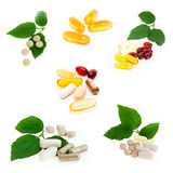Collection of supplements. On white background Stock Photos