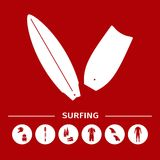 Collection of surfing goods icons Royalty Free Stock Images