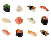A collection of sushi isolated Royalty Free Stock Image