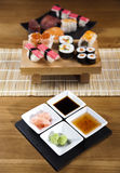 Collection of sushi. Oriental cuisine colorful theme stock images