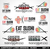 Collection of Sushi Restaurant flat style logo designs Royalty Free Stock Image