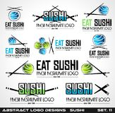 Collection of Sushi Restaurant flat style logo designs for food Stock Image