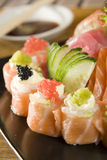 Collection of sushi and sashimi Stock Photos